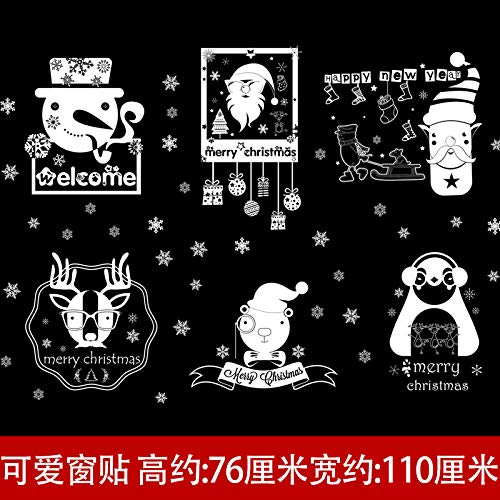 HAPPYLR Kindergarten Weihnachten Klassenzimmer Layout Tür Aufkleber Glasfenster Aufkleber Dekorationen Mall Schaufenster Selbstklebende Malerei, Fensteraufkleber Weihnachten 1, extra groß