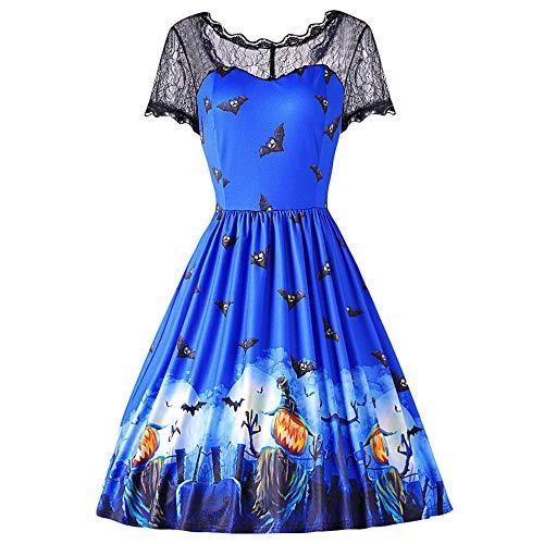 MIRRAY Damen Halloween Spitze Kurzarm Vintage Spliced Bat Print Abendkleid Kleider