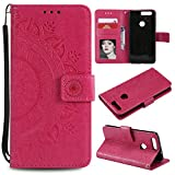 Kucosy Funda para Huawei Honor 8, Teléfono móvil Flip Cover para Huawei Honor 8, Piel sintética Case Totem Flores Cover