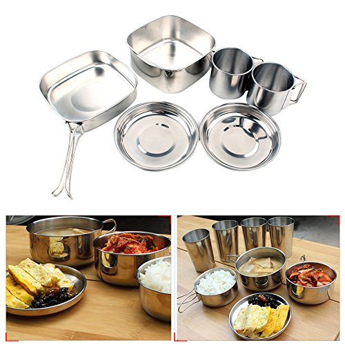 Camping Cookware Stainless Steel Set, Backpacking Camping Stainless Steel Cookware Picnic Camp Cooking Cook Set Lightweight, Compact, Durable Equipment 6 Piece Cookset for 3-4 Persons