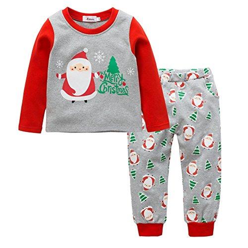 Christmas Pajamas Set for Kids Wingbind Cute Two-piece Cotton Santa Pattern Long Sleeve Pajamas Suit (Cute Christmas Elf Kostüme)