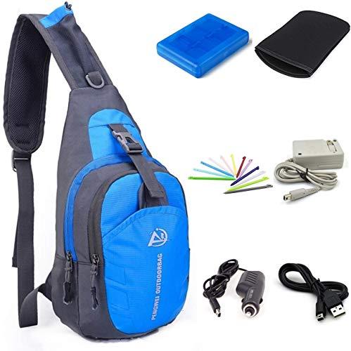 Awaqi 7-in-1 Reisetasche/Umhängetasche/Reisetasche/AC-Adapter/Kfz-Ladegerät für 3DS XL + weiche Schutztasche, Kartenhalter, Stylus, USB-Kabel für Nintendo 3DS XL/DSi/DSi XL