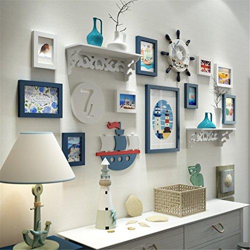 GUOPENGFEI® Massivholz Fotowand Einfach Fotowand Hängende Wand Bilderrahmen Kreativ Kombination Wohnzimmer Sofa Fernsehen Schlafzimmer Hintergrundwand Dekoration,A