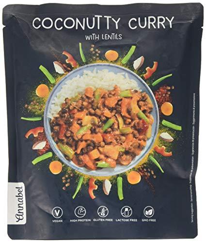 Annabel - Coconutty Curry, condimento per riso, pasto pronto vegano indiano naturale al 100% - 5 x 500 g