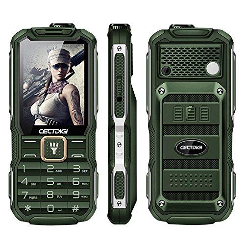Rugum T9900 Robuste 2G GSM Handy, Outdoor Militär Telefon mit Power Bank Aufladefunktion, 15800mAh Große Batterie, 2.8Zoll Display, Dual SIM Karte, Taschenlampe ausgestattet, Acht Sprache (Grün)