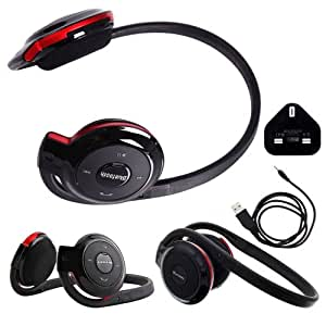 Wayzon BH503 Portable Bluetooth Wireless / Cordless Stereo Sports Headphones Headset Hands Free Earpiece Earphone Headband + Mains Charger Adaptor iN BONUS For Samsung T479 Gravity 3 / T739 Katalyst / T746 Impact / T819 / T919 Behold