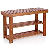 Deuba Schuhbank Schuhregal Sitzfläche Sitzbank Holz 3 Ebenen, 70 x 46 x 30 cm massiv Schuhablage Holzregal, Braun