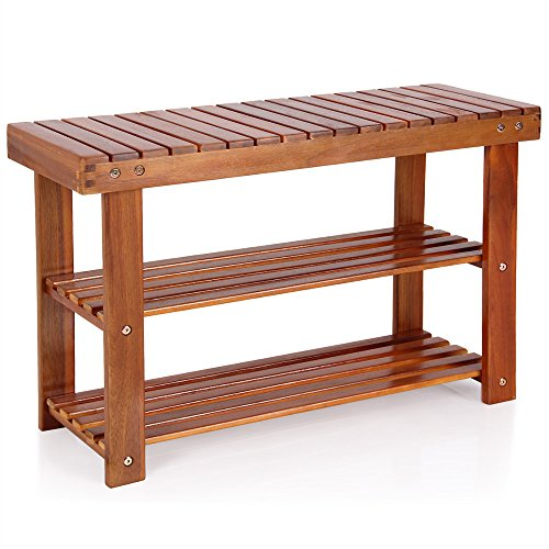Deuba Schuhbank Schuhregal Sitzfläche Sitzbank Holz 3 Ebenen, 70 x 46 x 30 cm massiv Schuhablage Holzregal, Braun -