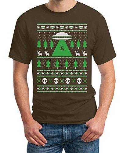 Hässlicher Weihnachtspulli Herren Shirt Motiv UFO Ausserirdisch T-Shirt Braun
