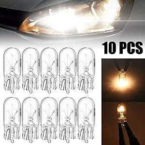 MZY1188 10 Stück Halogenlampen, warmweiß 12V 5W T10 W5W 194 168 Kfz-Kennzeichenbeleuchtung Breite Lampe Halogenlampen Signalleuchte Autozubehör