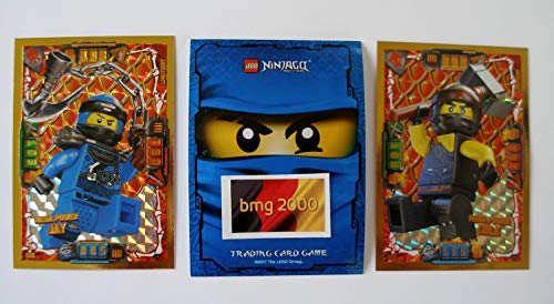 Lego Ninjago Serie 4 - 2 Limitierte Gold Karte Trading Card LE 2 Mega Power Cole LE 6 Mega Power Jay + Ninja Schutzhülle Blau + 1 Gold Sticker Serie 4