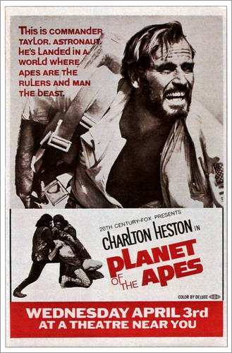 Posterlounge Forex 120 x 180 cm: Planet of The Apes, Top: Charlton Heston, 1968 de Everett Collection
