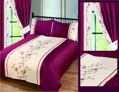 Super King Size Burgundy Sapphire Luxury Floral Embroided Embellished Duvet / Quilt Cover Bedding Set