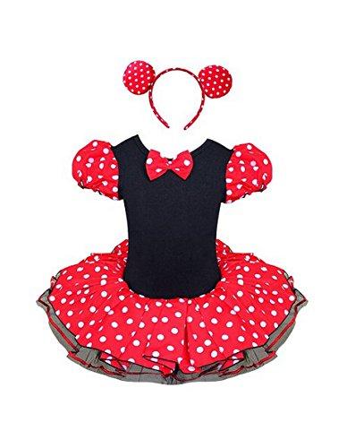 Jastore® Mädchen Kinder Kostüm Halloween Weihnachten Ballettkleid Party Hochzeit Tutu Kleid +Ohren (M//3-4 Jahre)