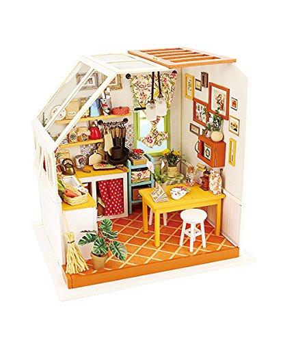 ROBOTIME Küche Spielset - DIY Küche Haus mit Zubehör und Möbel - Miniatur-Puppenhaus Renovierung Bausätze mit LED-Licht für Jungen und Mädchen 6, 7, 8, 9 Jahre Alt und Up - Kreative Geburtstag Weihnachtsgeschenk für Kinder und Frauen (Jason's Kitchen) (Miniatur-licht-set)