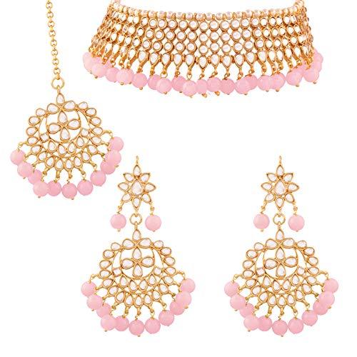 I Jewels Traditional Kundan & Pink Pearl Choker Necklace Set for Women (K7075Pi)