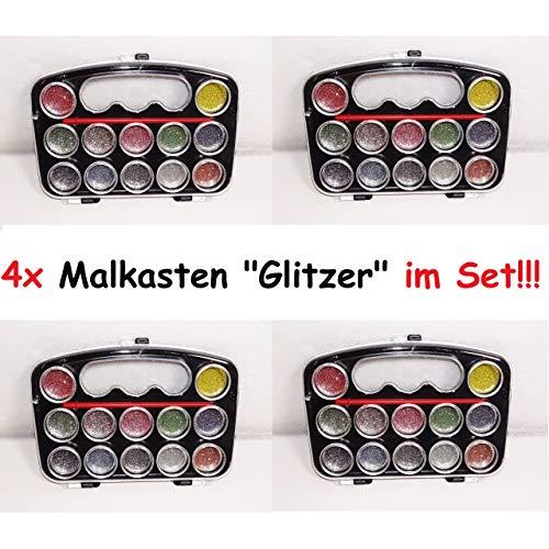 1a-becker 4X 13tlg Malkasten Wasserfarben Pinsel Farbkasten Glitzer Malen Kunst