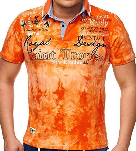 Herren Polo-Shirt mit V-Ausschnitt und Knopfleiste | Kurzarm T-Shirt für Männer bis 5XL | Baumwollhemd im Camp Vlnt Design || (3XL-Slim, Orange P-005) - Frauen Polo-shirts