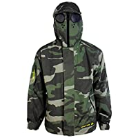 Location Junior Boys Goggle Hooded Rain Jacket Green Camo