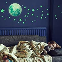Glow in The Dark Stars Wall Stickers,Luminous Stickers 27pcs Glow in Dark Stars and a 30cm Glow Moon Decals, Shining Decoration for Girls and Boys, Beautiful Wall Decals