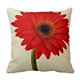 vintage cap 18 x 18 inches Decorative Cotton Linen Square Throw Pillow Case Cushion Cover Red Gerber Daisy Flowers Floral Design