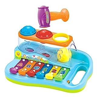 Baby-Xylophone zur frühen Bildung für 1 Jahr alte Babys, mit 3 farbigen Kugeln und kleinem Hammer, für Kinder, Jungen und Mädchen