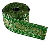 Guru-Shop Orient Bordüre, Indisches Webband mit Elefanten 6 cm Breit, 1 m - Smaragdgrün, Kunstfaser, Webbänder, Bordüren