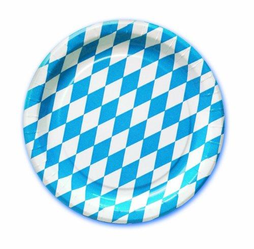 Amscan International Oktoberfest Bayerische Pappteller (Blau / Weiß)