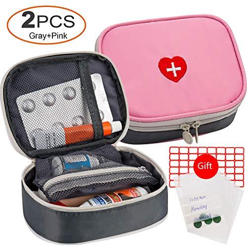 Mini-notfall-kit (2 stücke Tragbare Mini Erste-Hilfe Sets, Multifunktions Reise Medizin Verbandtasche Aufbewahrungstasche Notfall Kit für Outdoor Sports Home Camping Wandern - Nur Leere Medizin Beutel (Pink + Gray))