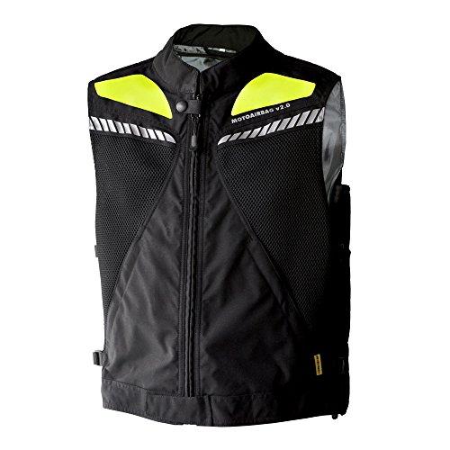 Motoairbag Weste Airbag hinten und vorne, schwarz/fluo, Größe XXL/XXXL