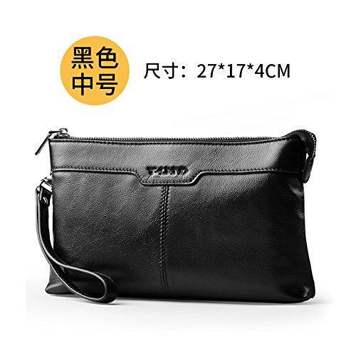 Handtaschen aus Leder mit männlichen große Kapazität Business Casual Fashion Handtasche Umschläge, blauen Zentrum Black center