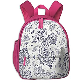 Childrens Backpack for Girls,Ornament Paisley_74,for Children's Schools Oxford Cloth (Pink)