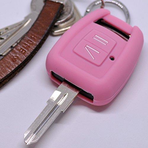 Soft Case Silikon Auto Schlüssel Schutz Hülle Pink kompatibel mit Opel Zafira A Astra G Vauxhall