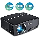 Proyectores, TOQIBO Proyector Portátil 1800 lúmenes LED Mini Proyector Home Cinema Portátil Multimedia Cine en Casa con USB SD HDMI VGA para Video Game Movie de Cine