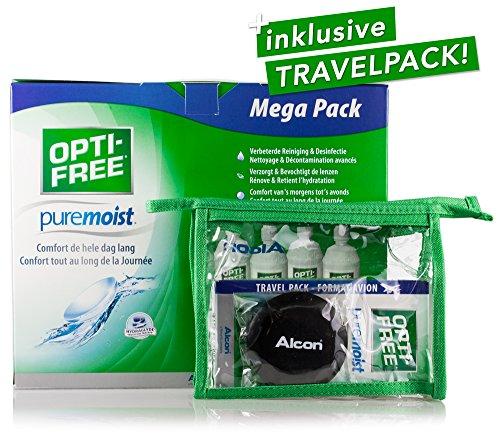 Alcon Optifree Puremoist 4x300ml inkl. Reise-Set (90ml) – Kontaktlinsen-Pflegemittel für alle weichen Kontaktlinsen – Kombilösung für das Reinigen, Desinfizieren und Aufbewahren der Linse (All-In-One Lösung)