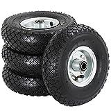 Yaheetech Lot de 4pcs Roue gonflable roue pneumatique remorque pour diable brouette chariot jante en acier 260 mm 150kg