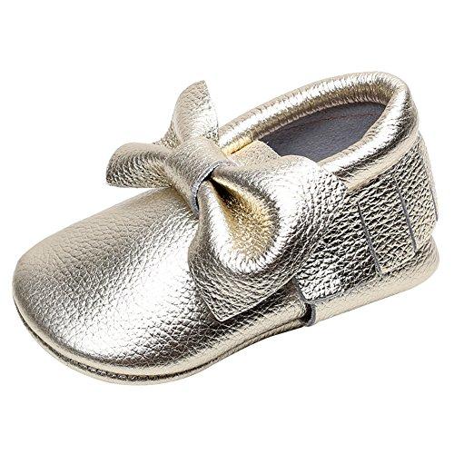 Jamron Bebê Bonito Bowknot Sapatos Borla Berços, Infante Macio Prewalker Sola Das Sapatilhas 0-24 Meses De Ouro