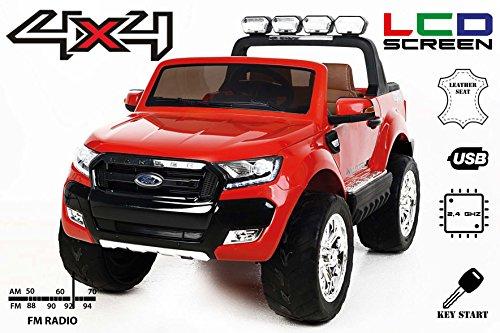 Ford Ranger Wildtrak 4X4 LCD Luxury Macchina Elettrica per Bambini, 2,4 GHz, 2 x 12V, Schermo LCD, Rosso, 4 X MOTORE, il controllo remoto, i due sedili in pelle, cerchi in morbida EVA, Bluetooth