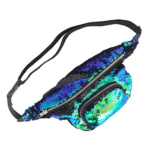 Beinou Frauen Pailletten Gürteltasche Hüfttaschen Meerjungfrau Pailletten Taschen Glitter Sport Bumbag Outdoor Crossbody Taschen für Mädchen
