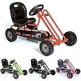 Hauck Lightning Go-Kart - Kinderfahrzeug, Reifen mit Gummiprofil, Handbremse für beide Hinterräder, 3-fach verstellbarer Schalensitz, orange