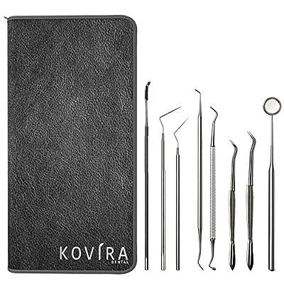 Kit Higiene Dental 8 piezas - Kits de cuidado dental por Kovira - Dientes Sonda Limpieza - Dental Espejo, Raspador Dental - Cuidado Dental - Rasqueta Dental, Removedor de Placa, Cuidado bucal
