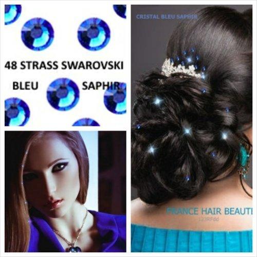 haarschmuck-promo-kit-hochzeit-48-strass-blau-saphir-swarovski-4-mm-diametre-48-strass-4-blatter-tat