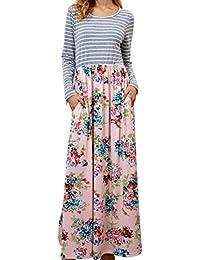 ❤️YunYoud❤ ❤ ❤ Damen Schöne Kleider Frau Mode Lange Ärmel Maxikleid  Gestreift Gedruckt O-Ausschnitt Boho Strandkleid Lose Beiläufig… 7a85e92922