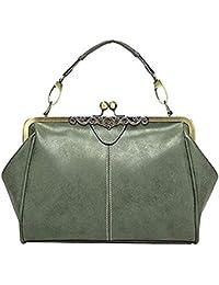 8eebd898ef6d0 Abuyall Women Retro Handbag Vintage Kiss Lock Imitation Leather Shoulder  Bag Purse Minimalist Handbag Totes Bag