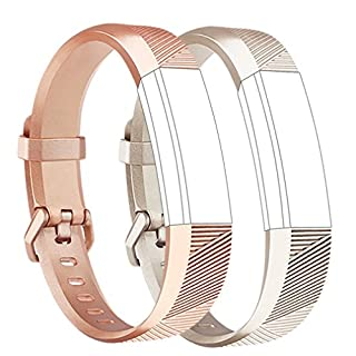 Tobfit Fitbit Alta HR Strap Adjustable Replacement Soft Sport Straps for Fitbit Alta HR and Fitbit Alta (2-Pack Rose Gold+Champagne Gold, Small)