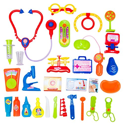 erthome 30pcs Kids Baby Doctor Play Carry Set Case Education Role Play Toy Kit 1 Set