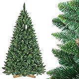 FairyTrees Artificiale Albero di Natale Pino, Verde Naturale, Materiale PVC, Vere pigne, incl. Supporto in Legno, 220cm, FT03-220