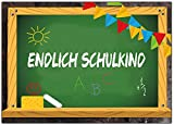 Einladungskarten zum Schulanfang zur Einschulung Schuleinführung Einladung Schule Set - 12 Stück Schulbeginn Mädchen Junge Jungen Jungs Schuleingang Zuckertüte Tafel 1 erster Schultag ABC Schütze
