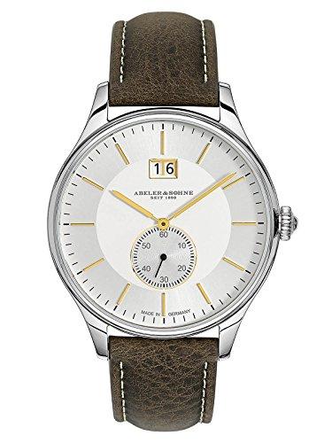 Abeler & Söhne fabricado en Alemania Reloj de hombre (Fecha Grande, con cinta de piel, cristal de zafiro y as3271
