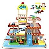 Parking Voiture Jouet, GODNECE Garage Bois Voiture Enfants Garage Voiture Enfant 3 Ans avec Accessoires